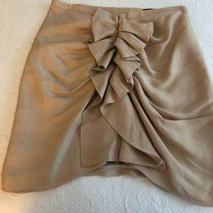 Zara Beige silk skirt with Front Ruffle